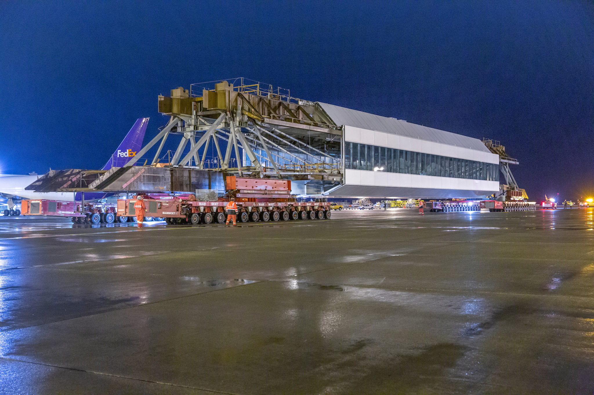 IAF pedestrian walkway moved from Cargo 2, down the center runway to the South Satellite and IAF, 24 January 2020.
